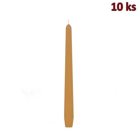 Svíčka kónická apricot 245 mm [10 ks]