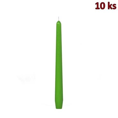 Svíčka kónická tmavě zelená 245 mm [10 ks]