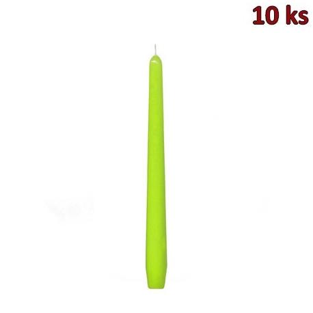 Svíčka kónická 245 mm žlutozelená [10 ks]