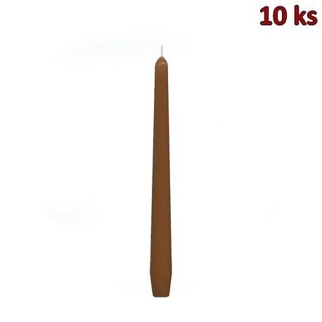 Svíčka kónická 245 mm hnědá [10 ks]