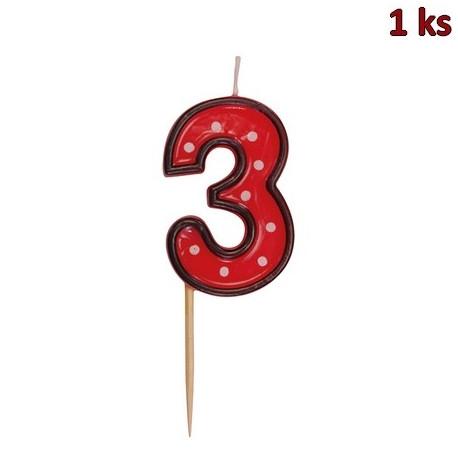 "Svíčka na dort na špejli ""3"" 50 mm [1 ks]"