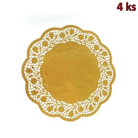 Dekorativní krajky kulaté, zlaté Ø 32 cm [4 ks]