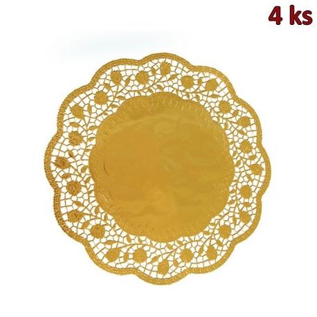 Dekorativní krajky kulaté, zlaté Ø 36 cm [4 ks]