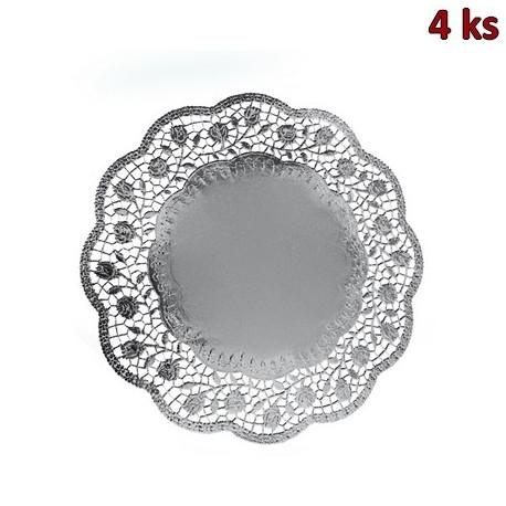 Dekorativní krajky kulaté, stříbrné Ø 32 cm [4 ks]