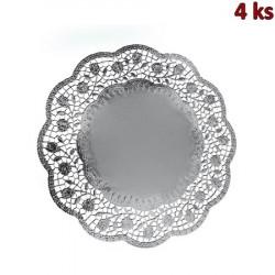 Dekorativní krajky kulaté, stříbrné Ø 36 cm [4 ks]
