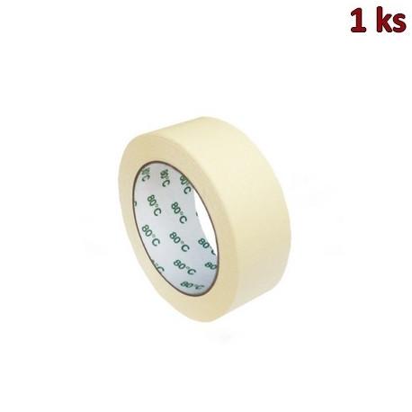 Lepící páska krepová, bílá 50 m x 38 mm (do +80°C) [1 ks]