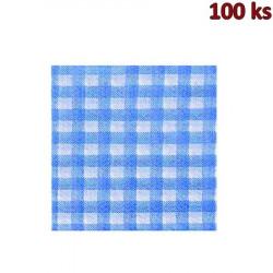 Papírové ubrousky KARO modré 1-vrstvé, 33 x 33 cm [100 ks]