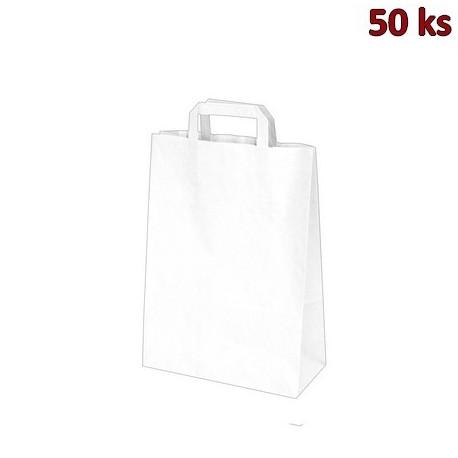 Papírové tašky 22 x 10 x 28 cm bílé [50 ks]
