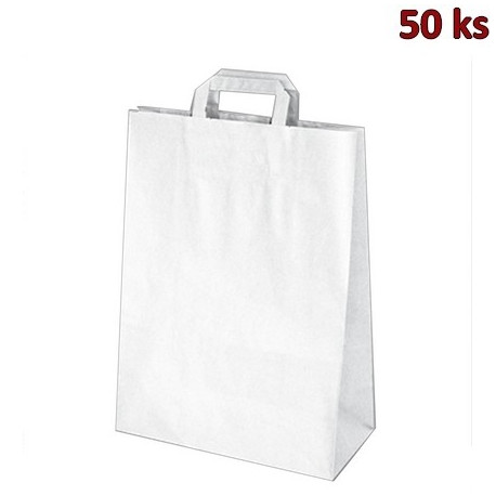 Papírové tašky 32 x 15 x 43 cm bílé [50 ks]