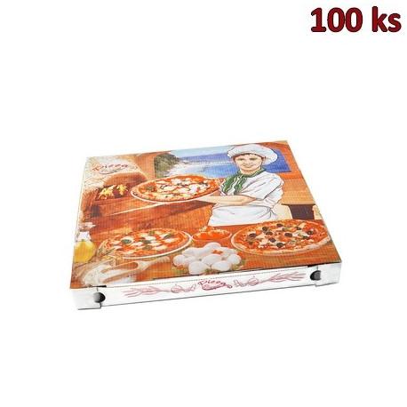 Krabice na pizzu z vlnité lepenky 32,5 x 32,5 x 3 cm [100 ks]