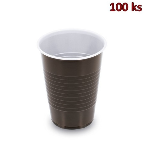 Kelímek na kávu hnědo-bílý 0,18 l PP (Ø 70 mm) [100 ks]