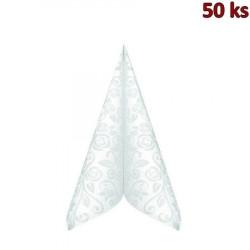 """Ubrousky PREMIUM 40x40cm """"dekor R"""" bílé [50 ks]"""