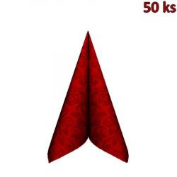 """Ubrousky PREMIUM 40x40cm """"dekor R"""" červené [50 ks]"""
