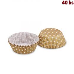 Cukrářské košíčky zlaté s bílými hvězdičkami Ø 50x30mm [40ks]
