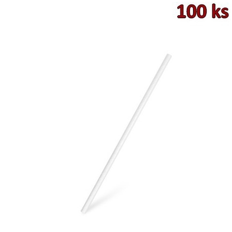 Slámky papírové rovné, bílé 20 cm, Ø 6 mm [100 ks]