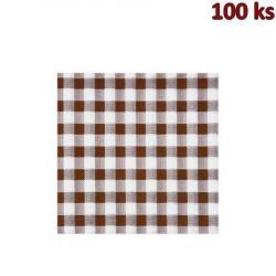 Ubrousky 1-vrstvé, 33 x 33 cm KARO hnědé [100 ks]