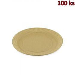 Papírový talíř hnědý mělký Ø 23 cm [100 ks]
