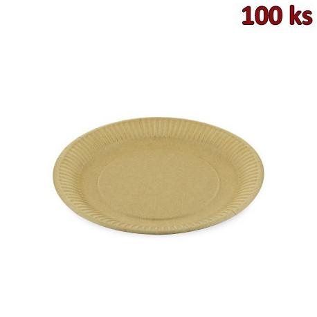 Papírový talíř mělký, hnědý Ø 23 cm [100 ks]