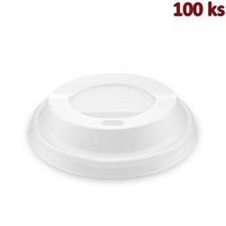 Víčko vypouklé bílé (CPLA) -BIO- pro kelímky Ø 80 mm [100 ks]