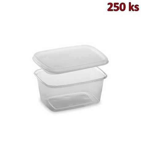 Miska hranatá průhledná 250 ml + víčko (PP) [2 x 250 ks]
