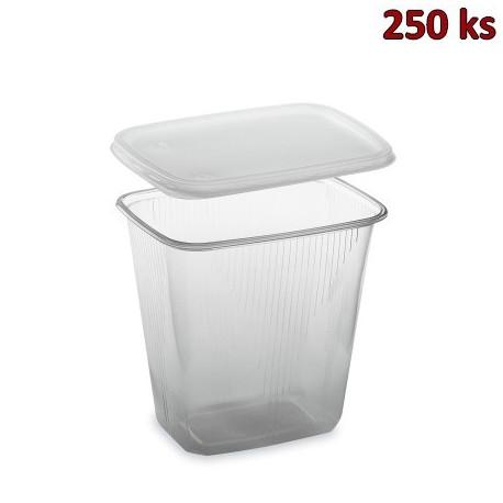 Miska hranatá průhledná 500 ml + víčko (PP) [2 x 250 ks]