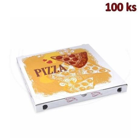 Krabice na pizzu z vlnité lepenky 34 x 34 x 3 cm [100 ks]