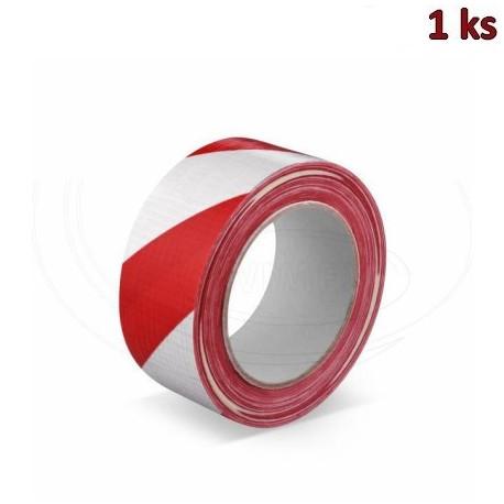 Lepící páska s tkaninou, červeno-bílá 33 m x 50 mm [1 ks]