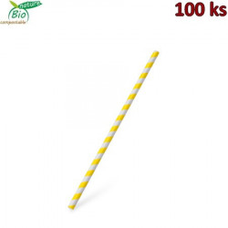 Slámka papírová JUMBO žlutá spirála 25 cm, Ø 8 mm [100 ks]