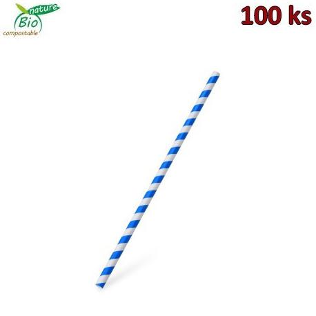 Slámka papírová JUMBO modrá spirála 25 cm, Ø 8 mm [100 ks]