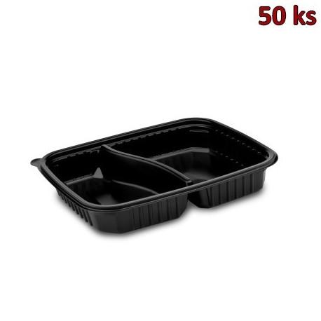Menu mísa 2dílná černá do mikrovl. trouby 1200 ml, L 25x18,5 x 4 cm (PP) [50 ks]