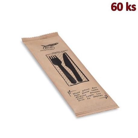 Sada dřevěných příborů (nůž + vidlička + ubrousek) [60 sad]