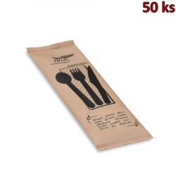 Sada dřevěných příborů (nůž + vidlička + lžíce + ubrousek) [50 sad]
