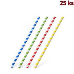 Papírová slámka rovná, barevný mix spirála 20 cm, Ø 6 mm [25 ks]
