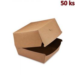 Box na hamburger hnědý nepromastitelný 13,5 x 13,5 x 10 cm [50 ks]