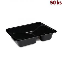 Menu vanička (PP) 3-dílná 227x178x49mm, černá [50 ks]