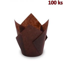 Cukrářský košíček TULIP hnědý Ø 5 x 8,5 cm (16 x 16 cm) [100 ks]